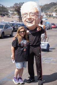 "Rena Marrocco aka ""The Liberal Diva"" posing with ""Bernie Sanders"" (aka Michael Johnson) at the Bernie Rally in San Diego on June 5, 2016."