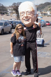 "Rena Marrocco aka ""The Liberal Diva"" posing with ""Bernie Sanders"" (aka Michael Johnson) at the Bernie Rally in San Diego on June 5, 2016."